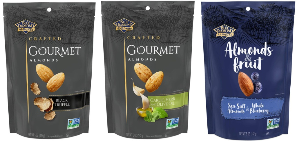 3 bags of blue diamond gourmet almonds