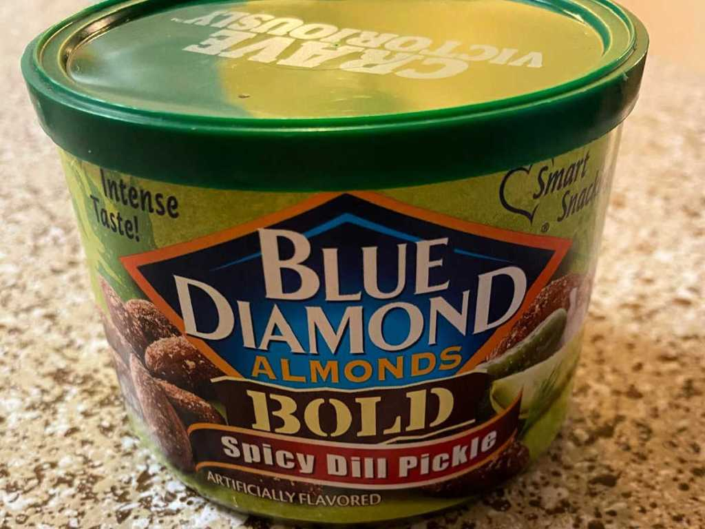 front view of Blue Diamond Almonds Spicy Dill Pickle 6oz Can
