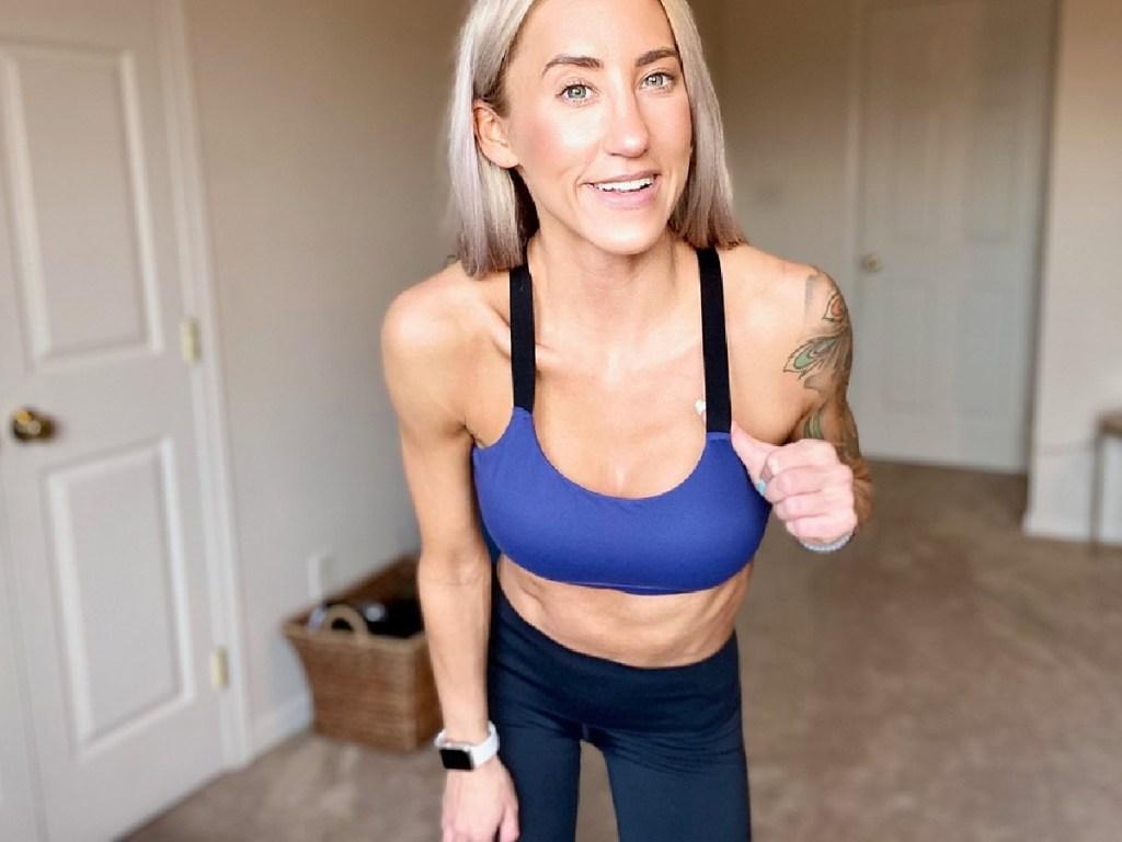 lady wearing a yvette sport bra