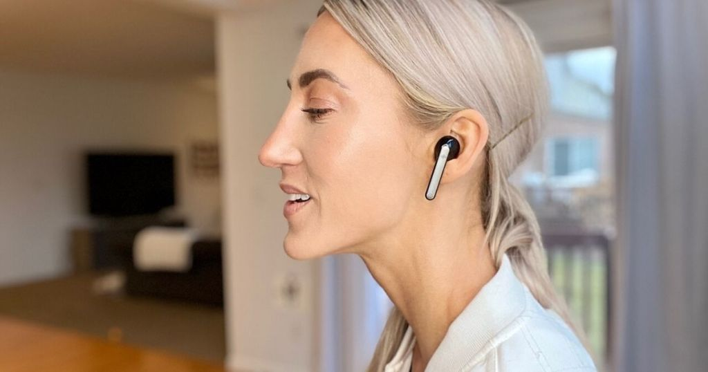 profile view of woman listening to Boltune earbuds