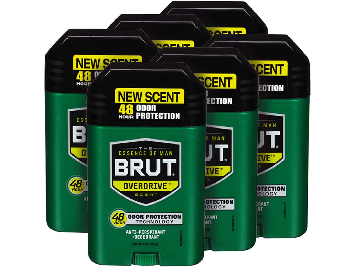 stock image of six brut deodorants