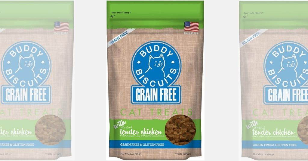 Buddy Biscuits Grain Free Cat Treats in small bags