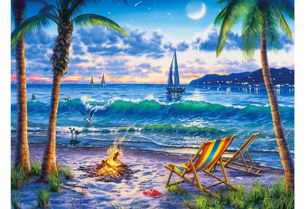 puzzle of two chairs near firepit on beach with sailboats in the ocean in background