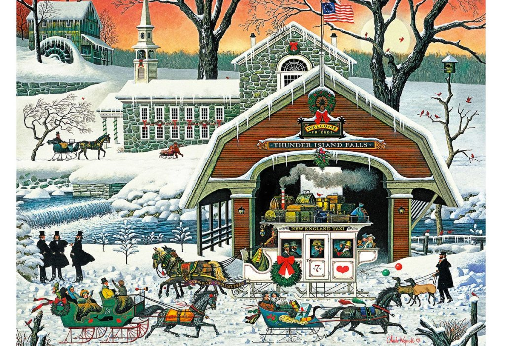 puzzle of presents arrive by horse drawn carriage in front of snowy barn