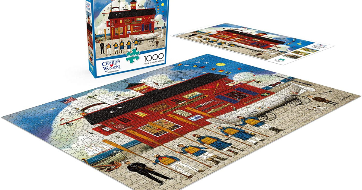 put together buffalo games puzzle with box