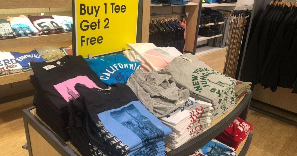 Aeropostale display of buy 1 get 2 free shirts