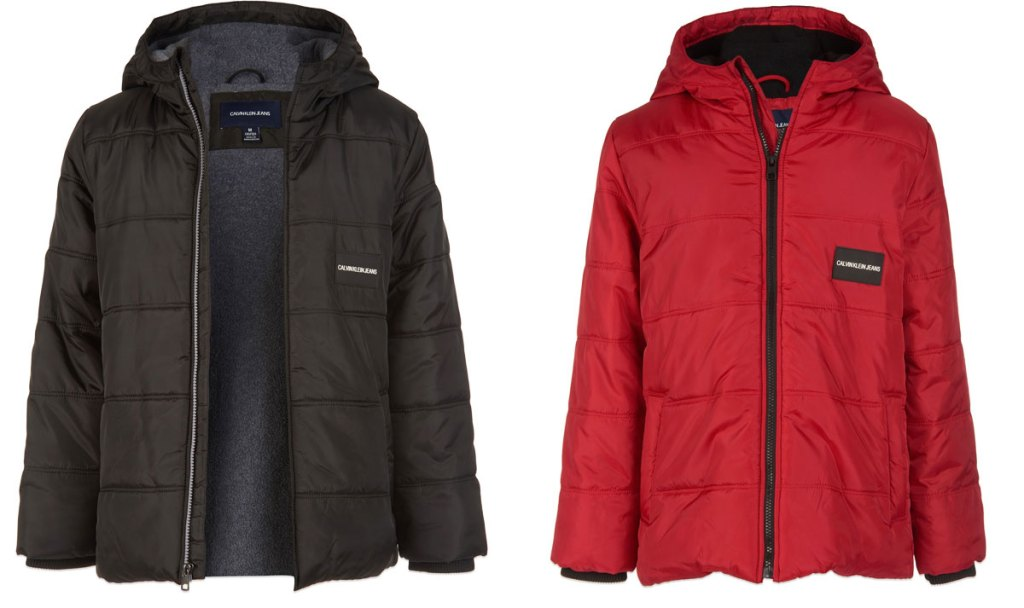 two calvin klein jackets in black and red colors