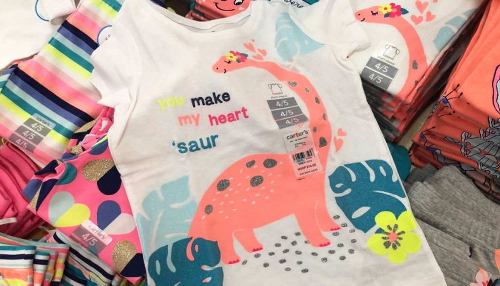 carter's girls graphic tee with pink dinosaur