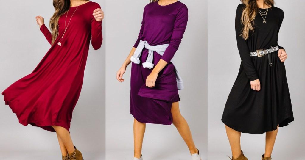 woman in red long sleeve dress, woman in purple long sleeve dress, and woman in black long sleeve dress
