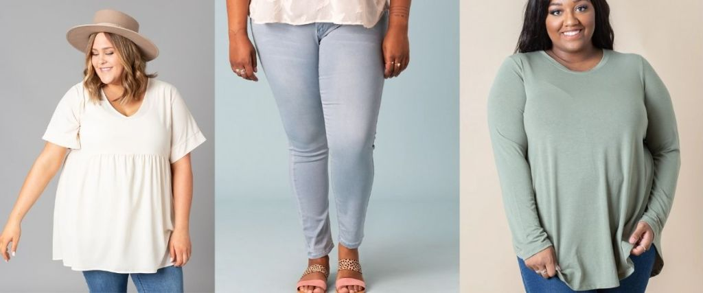 ladies wearing Cents of Style Tunic Jeans Tee
