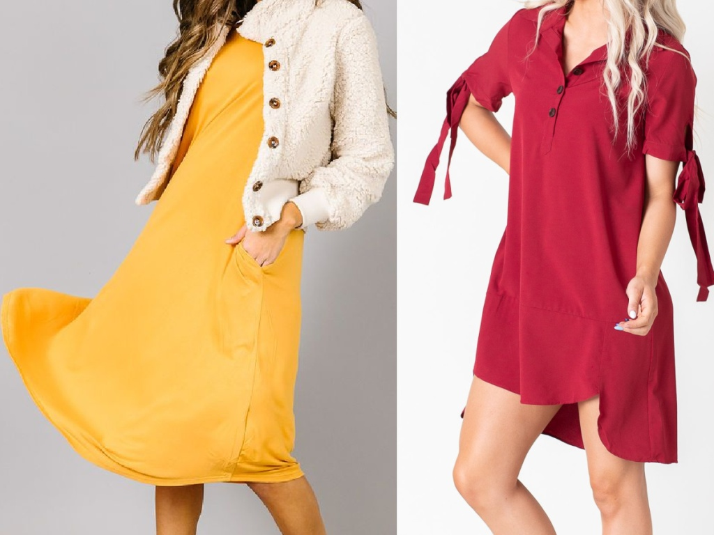 woman in long yellow dress and white button jacket and woman in red quarter sleeve dress