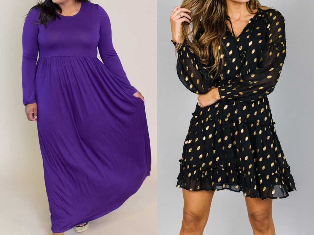 woman in purple long-sleeved dress and woman in black and gold polka dot dress