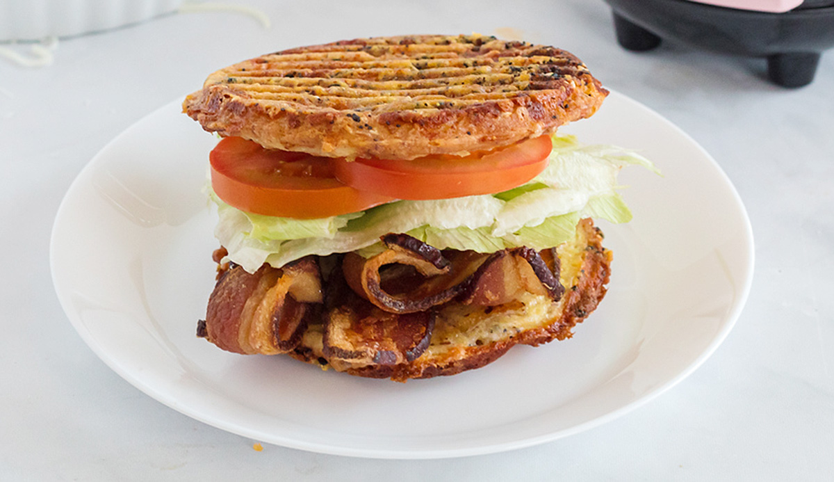 Chaffle Sandwich on a plate