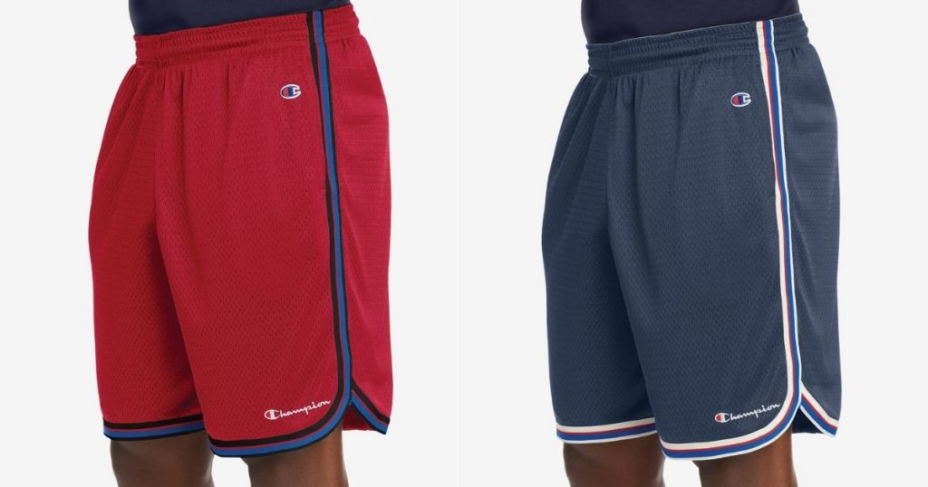 red and blue Champion Mens Basketball Shorts