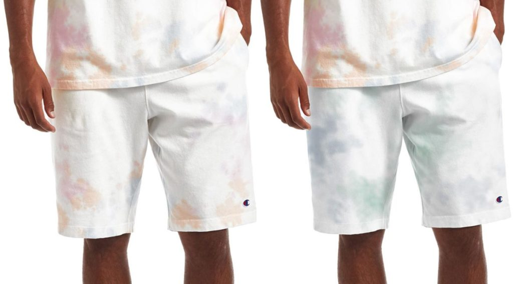 man in white and orange tie dye shorts and man in white and blue tie dye shorts