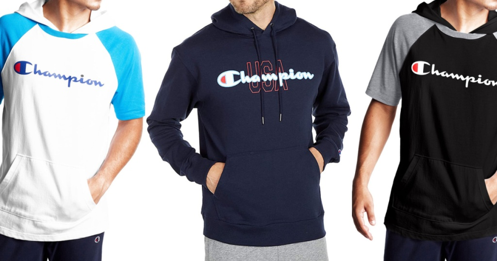 man in white and light blue short sleeve hoodie, man in navy hoodie, and man in black and gray short sleeve hoodie
