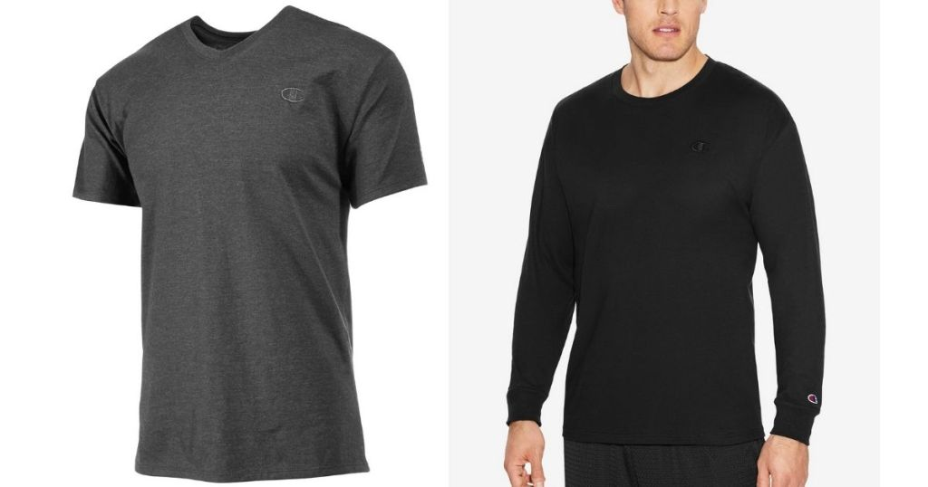 Gray SS and Black LS Champion Men's Tshirt