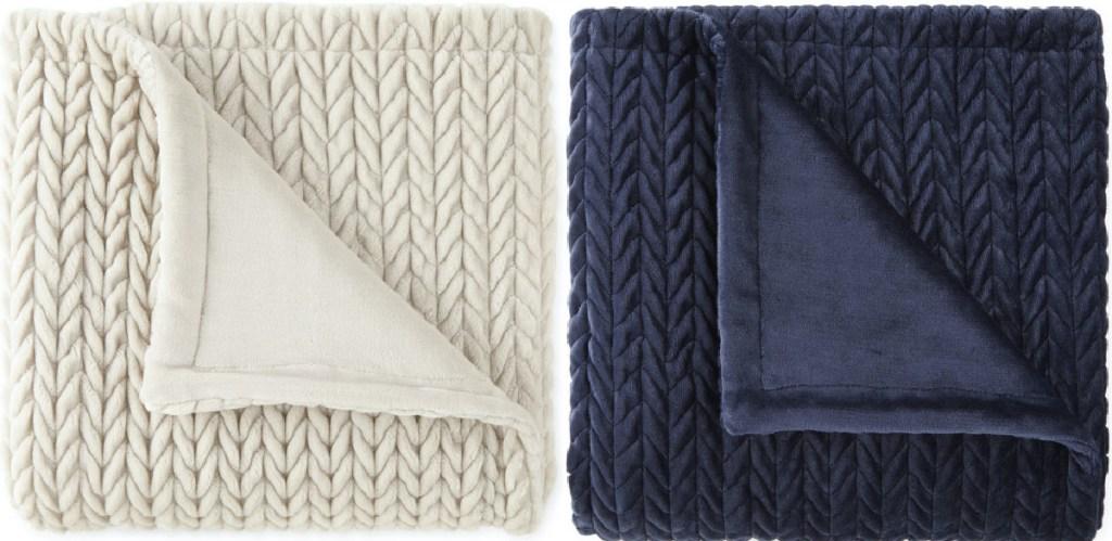 white chevron textured throw blanket and blue throw blanket