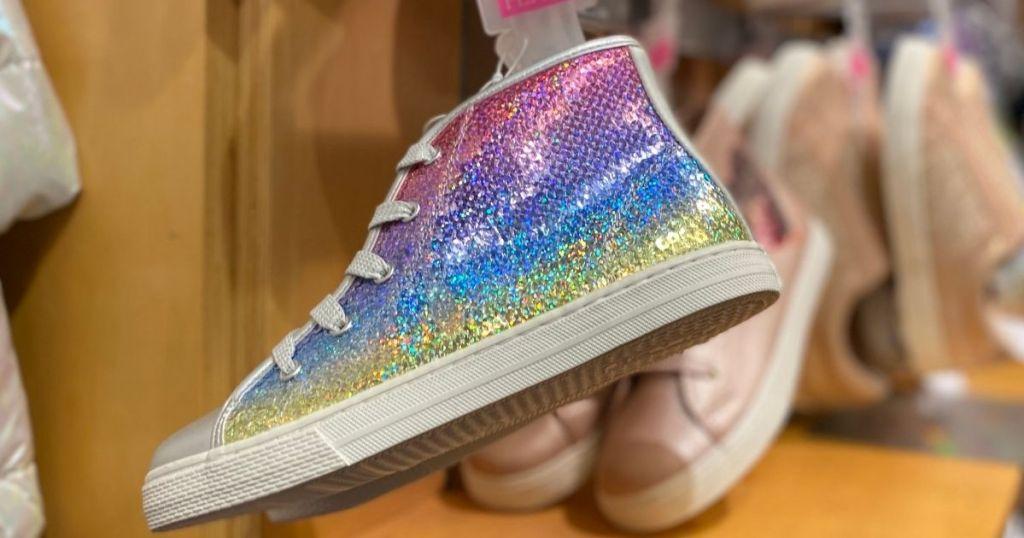 kids sneaker with rainbow sequins