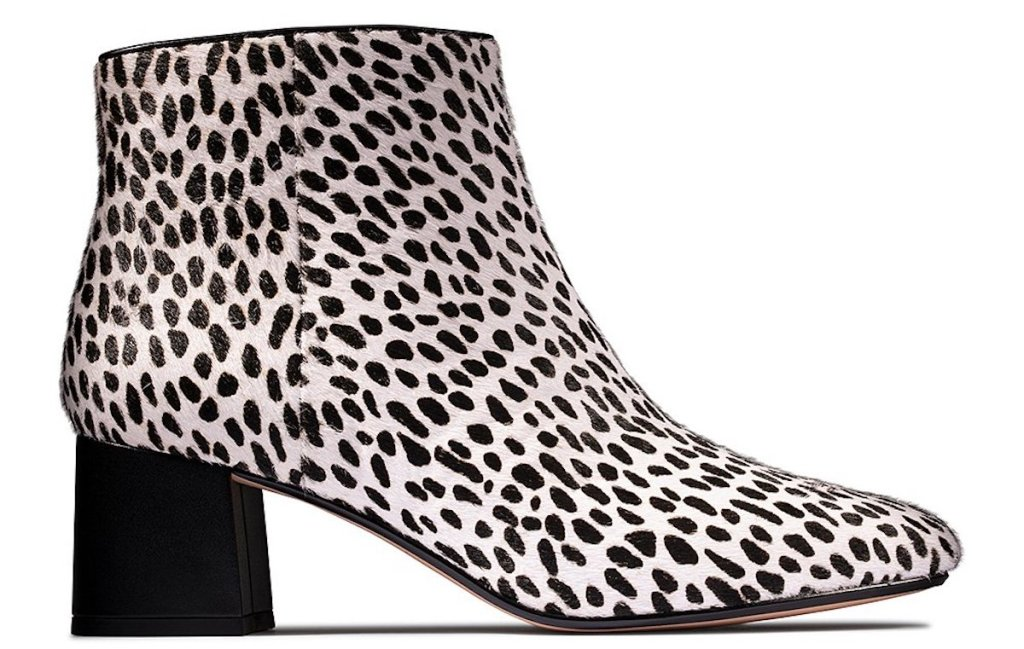 side view of Clarks Women's White & Black Spot Sheer Flora 2 Leather Bootie