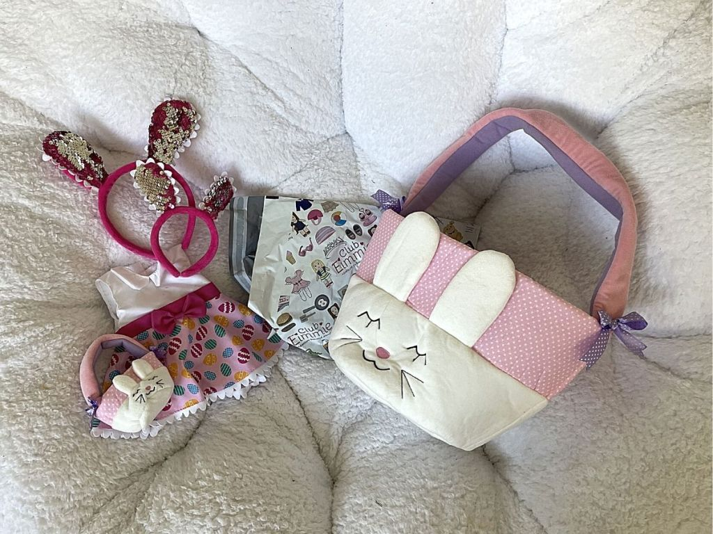 matching bunny baskets and bunny ears headband and doll dress
