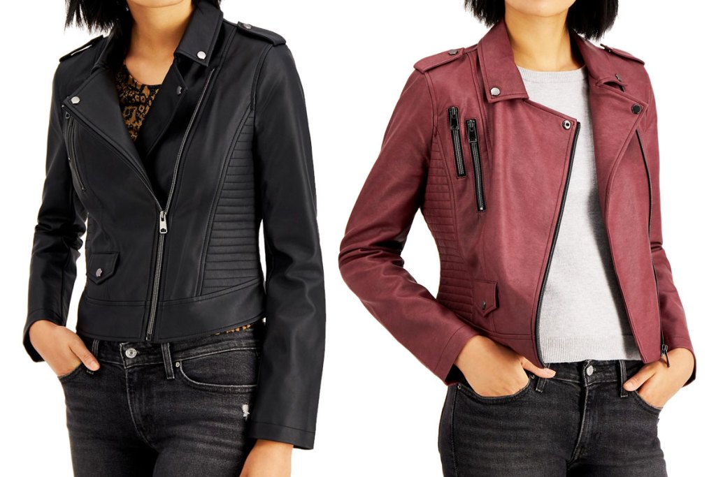 two women modeling leather jackets in black and maroon colors