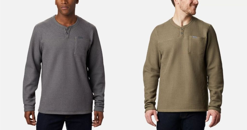 Columbia Mens Flare Fun Henley in gray and tan
