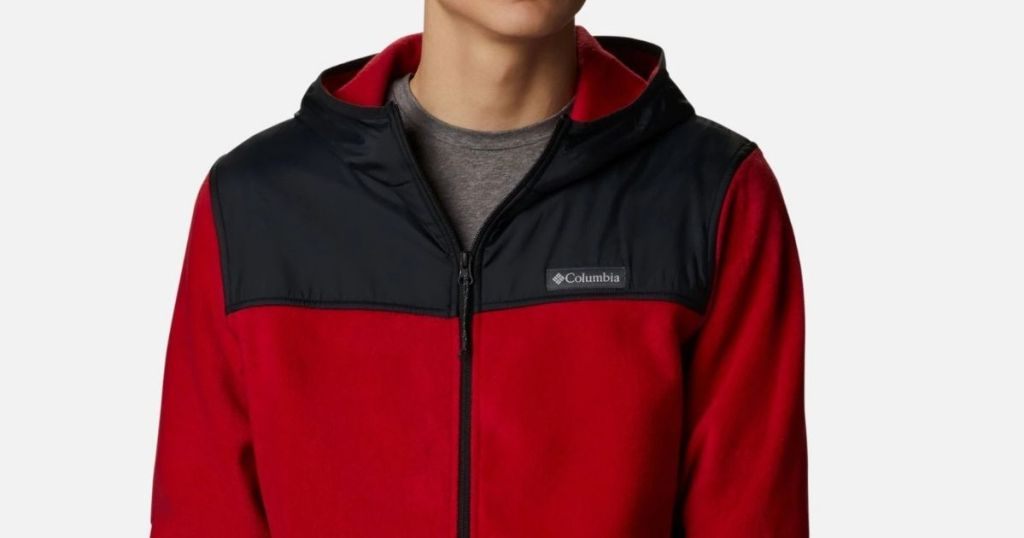 man wearing a black and red jacket