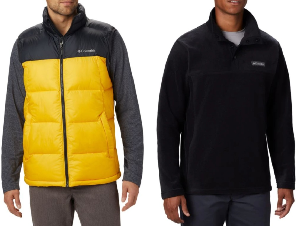 man wearing a bright yellow columbia vest and fleece zip up