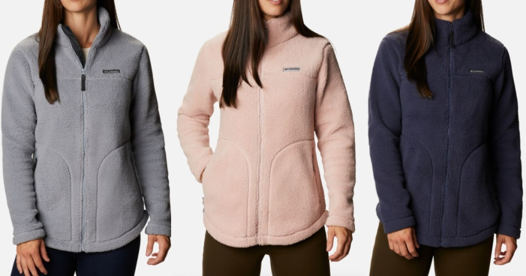 3 women standing next to each other wearing columbia fleece jackets