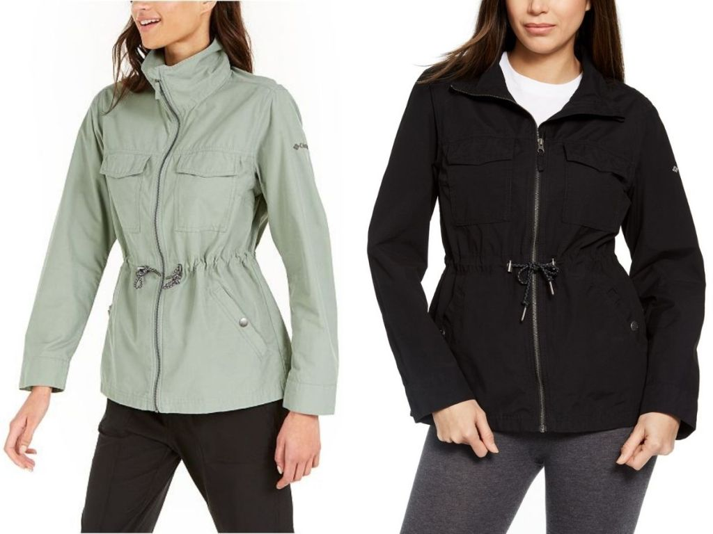 two women wearing light green and black columbia jacket