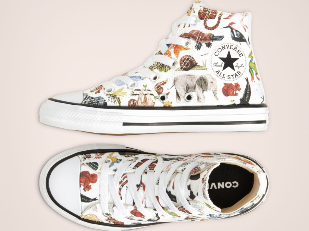 kids converse high tops with animals