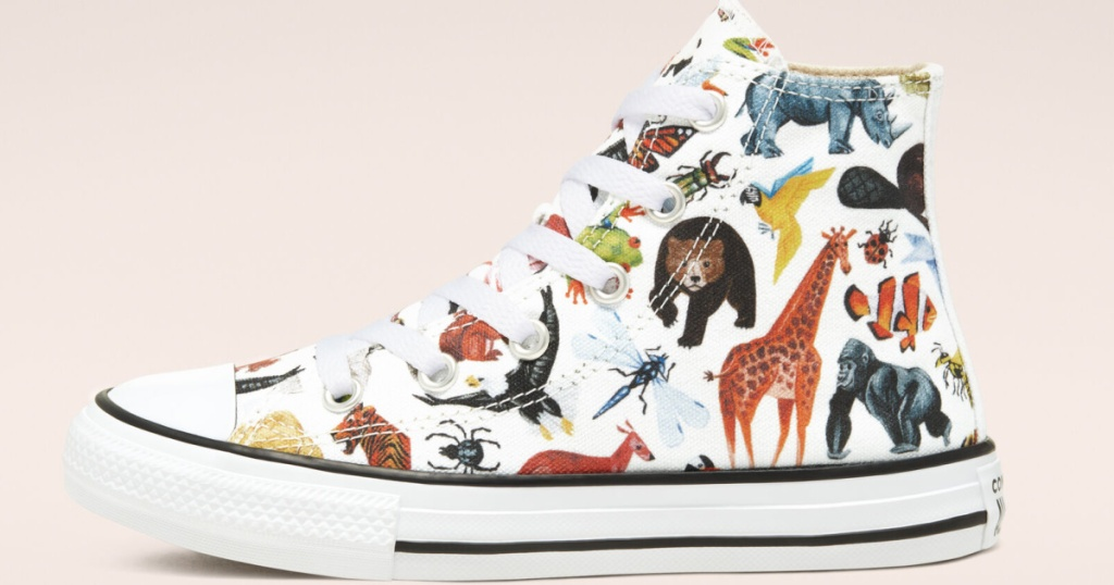 Converse shoe with animals on it