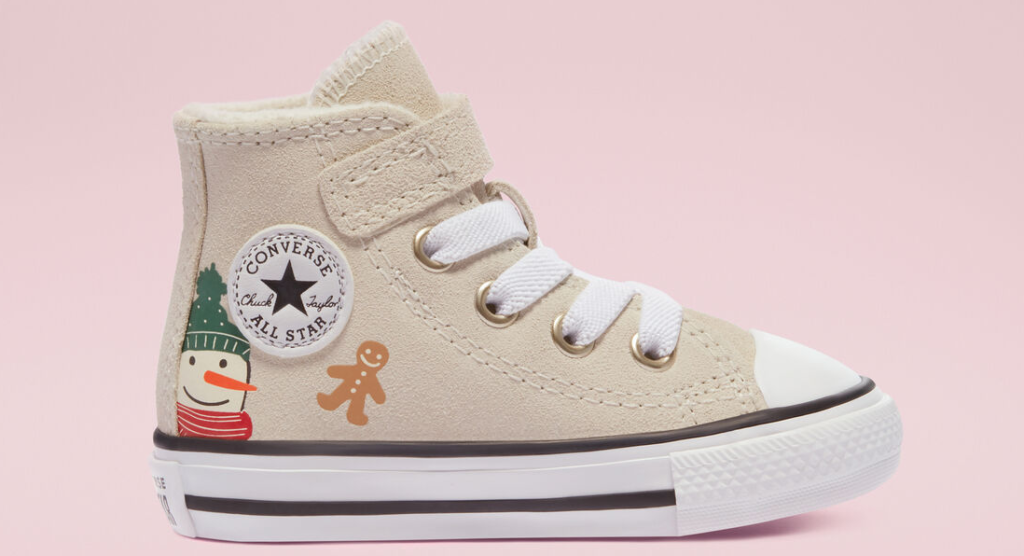 canvas shoe with a snowman and gingerbread man on it