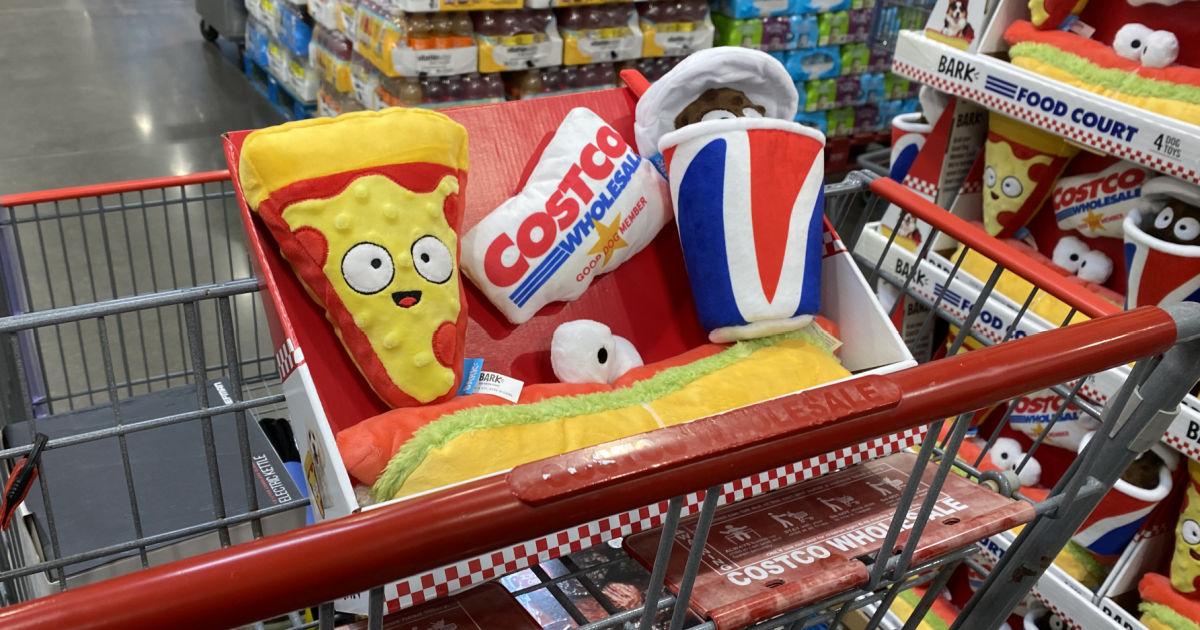 Costco Dog Toy 4 Pack bundle inside shopping cart
