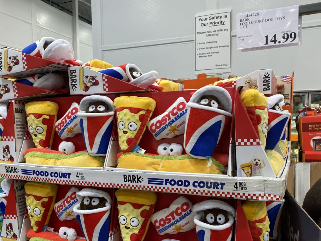Costco Food Court Dog Toys on display in store