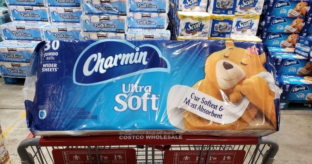 A large package of toilet paper in a Costco shopping cart