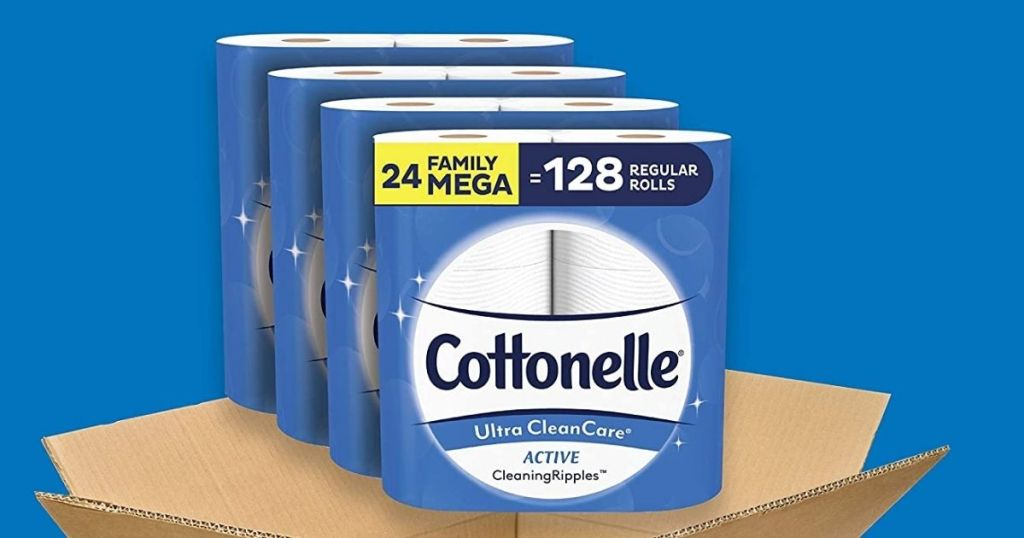 Cottonelle Mega Rolls coming out of a box on blue background