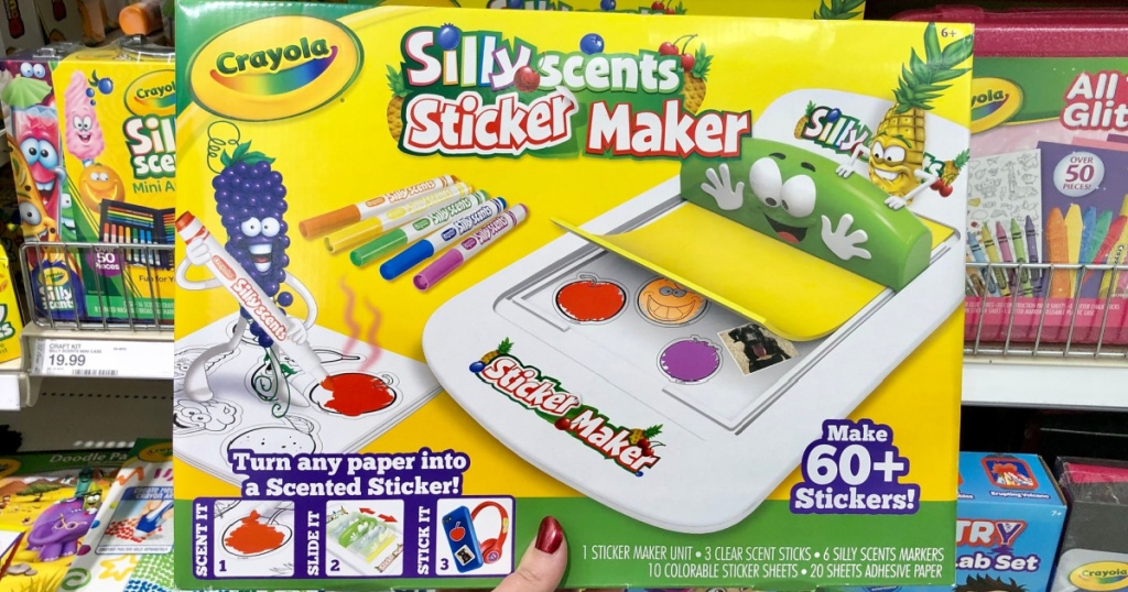 hand holding a crayola silly scents sticker maker