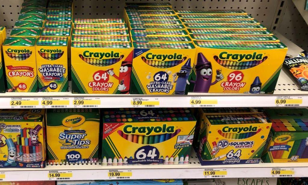 display of crayons at Target