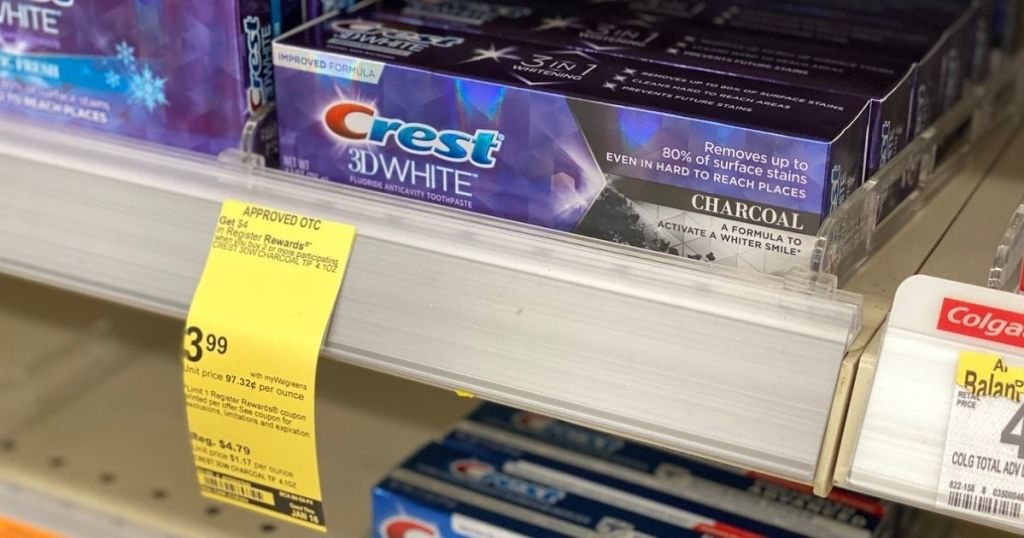 Crest 3D white Toothpaste on store shelf