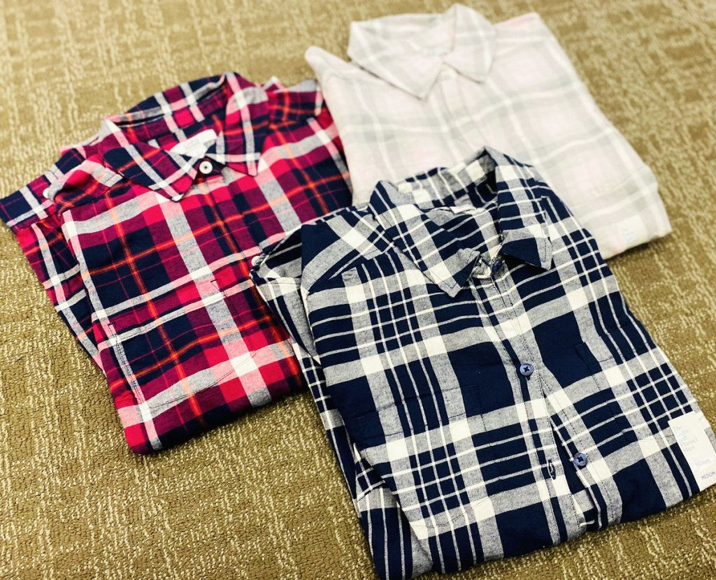 three croft & barrow flannel shirts folded and grouped together
