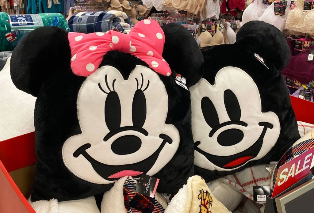 two minnie and mickey mouse plush throw pillows
