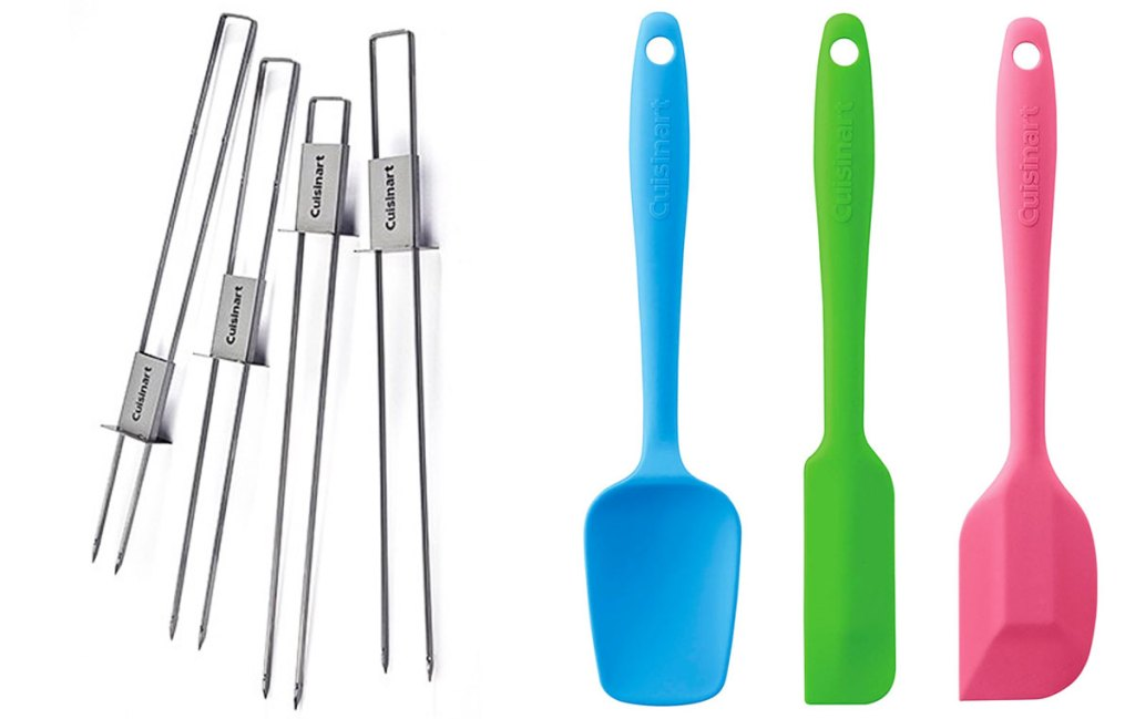 silver kabob skewers and mini spatulas in blue, green, and pink