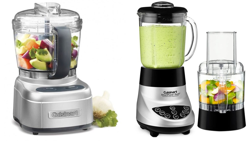 mini silver food processor and silver and black blender