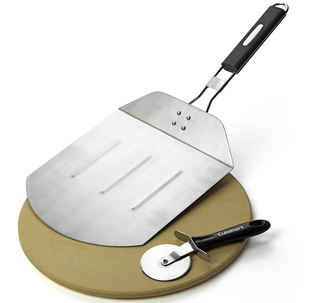 cuisinart pizza stone, paddle, and cutter