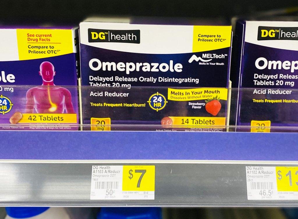 dollar general heartburn medication on store shelf