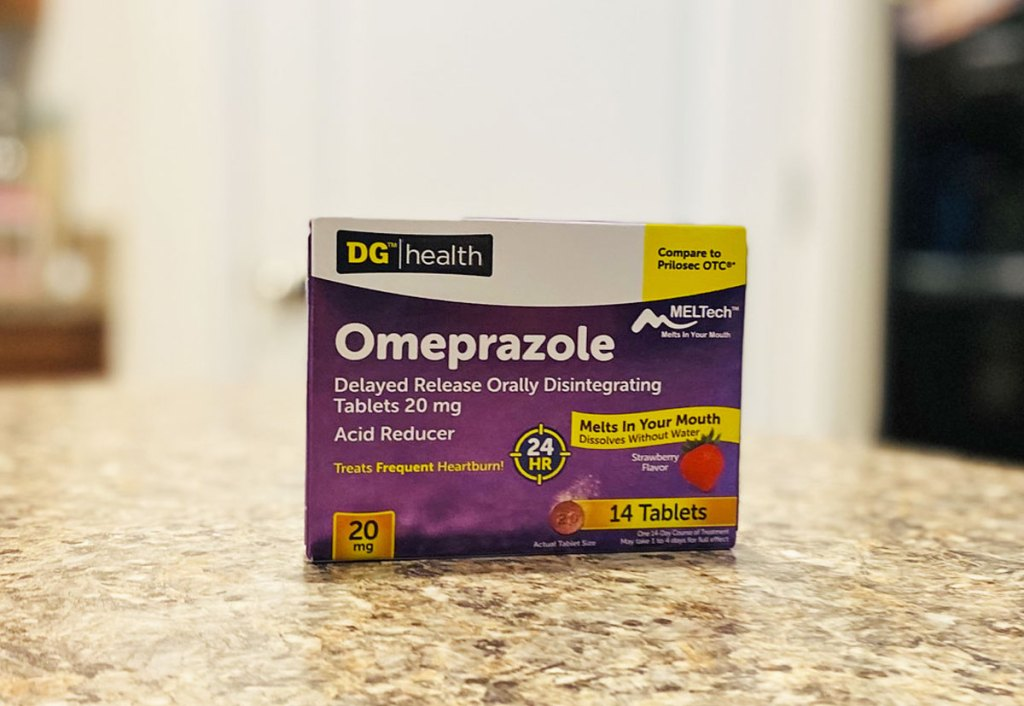 box of dollar general heartburn medication on kitchen counter