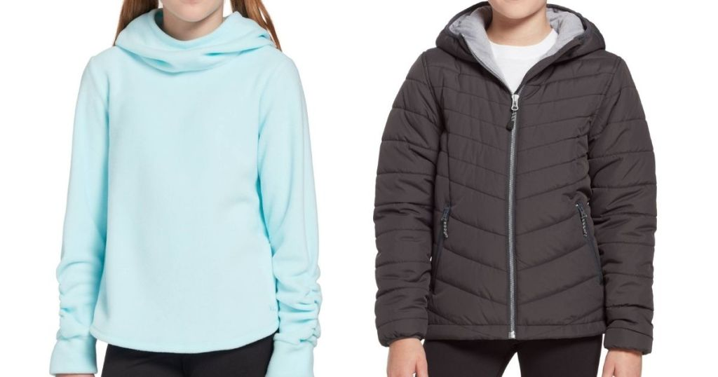 two girls wearing a sweatshirt and a jacket