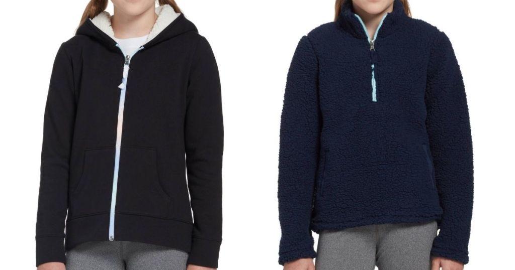 two girls wearing sherpa sweatshirts